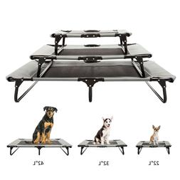 Portable Pet Dog Bed Elevated Cooling Lounger Folding W/ Bre