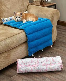 Portable Reversible Roll-Up Pet Dog Bed Faux Fur Durable Can