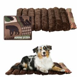 Portable Roll Up Travel Pet Dog Bed Crate Pad Mat Rustic Cab