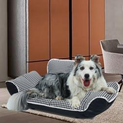 Pu Leather Dog Sofa Couch Bed Pet Sleep Elevated Foam Furnit