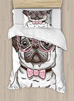 Ambesonne Pug Duvet Cover Set Twin Size, Cute Pet Dog with P