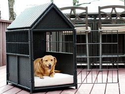 Iconic Pet Rattan Pet Crate with Storage
