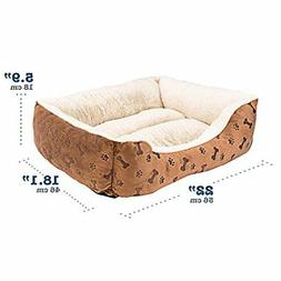 "Rectangle Pet Bed with Dog Cat Paw Printing Size 22"" x 18"" S"