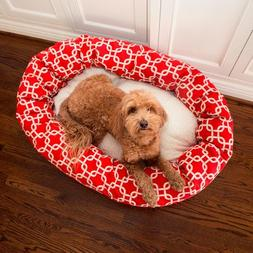 52 inch Red Links Sherpa Bagel Dog Bed