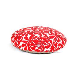 Red Plantation Large Round Indoor Outdoor Pet Dog Bed With R