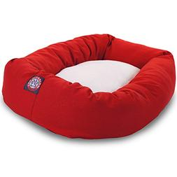 40 inch Red & Sherpa Bagel Dog Bed By Majestic Pet Products