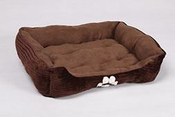Reversible Rectangle Pet Bed Dog Bed with Dog Paw Embroidery