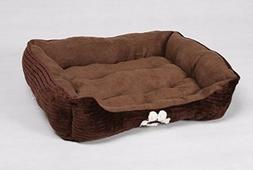 HappyCare Textiles Reversible Rectangle Pet Bed Dog Paw Prin