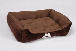 HappyCare Textiles Reversible Rectangle Pet Bed with Dog Paw