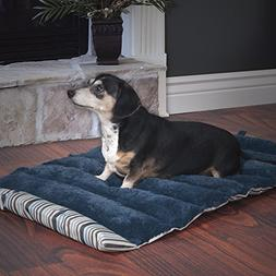 PETMAKER Roll Up Travel Portable Dog Bed, Blue Stripe