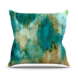 "KESS InHouse Rosie Brown ""Waterfall"" Teal Blue Throw Pillow,"