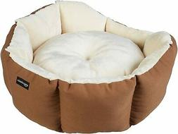 Round Bolster Dog Bed with Flannel Top