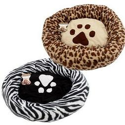 "Round Paw Print Dog Cat Pet Bed Crate  Mat Cushion 23 "" zebr"