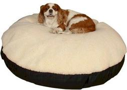 Snoozer Round Pillow Pet Bed, Cream with Fur, Large, Khaki