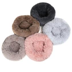 Round Plush Donut Pet Dog Cat Bed Fur Cuddler Warm Soft Pupp