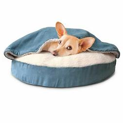 FurHaven Round Snuggery Burrow Pet Bed, Blue, 26""