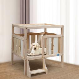 Rustic Log Dog Wooden Beds for Small Dogs Furniture Raised