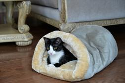 sage green cat bed