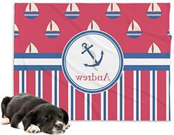 RNK Shops Sail Boats & Stripes Minky Dog Blanket - Regular
