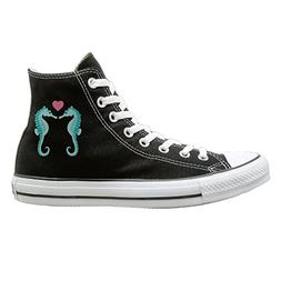 SH-rong Sea Horse Love High Top Sneakers Canvas Shoes Slip O