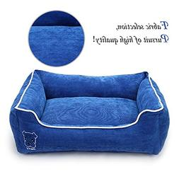 Simple Rectangular Pet Bed with Removable Cover, Plush Comfy