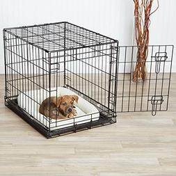 AmazonBasics Single-Door Dog Crate and Padded Bolster Bed -