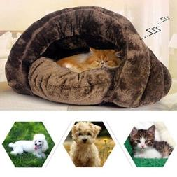 Small Pet Cat Dog Soft Warm Nest Kennel Bed Cave Sleeping Ba