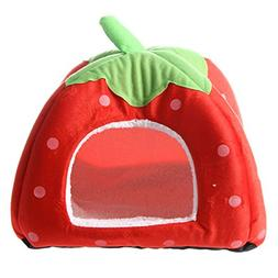 SODIAL Soft Strawberry Pet Igloo Dog Cat Bed House Kennel Do