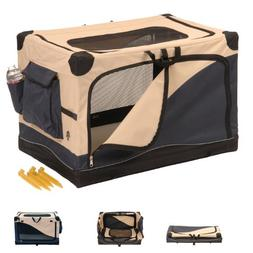 "Precision Soft Side Pet Crate Navy / Tan 24"" x 18"" x 17"""