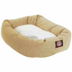 solid poly cotton sherpa bagel dog bed
