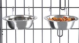 Stainless Steel Hanging Pet Bowls for Dogs and Cats- Cage, K