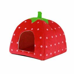Strawberry Style Cute Soft Sponge Puppy Cat Dog Pet Bed Dome