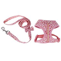 Sweet Floral Dog Puppy Harness Leash Lead Walking Collar Ves
