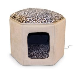 K&H Pet Products Thermo-Kitty Sleephouse Heated Pet Bed Tan/