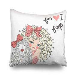 DIYCow Throw Pillow Covers Beautiful Cute Little Girl Dog Po