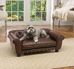 Raised Dog Pet Sofa Bed Tufted Couch Faux Leather Furniture