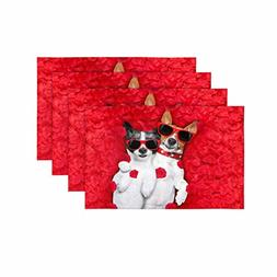 InterestPrint Two Dogs Couple Red Rose Flower Bed Valentine'