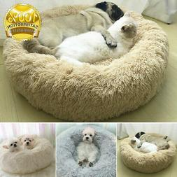 US Pet Dog Cat Calming Bed Warm Soft Plush Round Cute Nest S