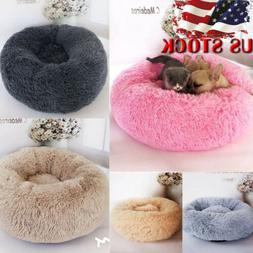 US Pet Dog Cat Calming Bed Warm Soft Plush Round Cute Nest C