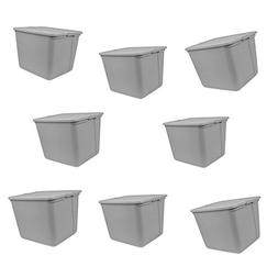 Utility Storage Containers Lids Set of 8 Hard Handles Box Po