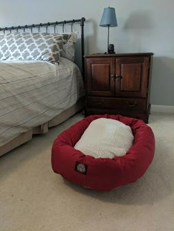 Majestic Pet LARGE RED BAGEL DOG BED Warm Sherpa Winter Mach