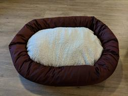villa bagel dog bed medium maroon red