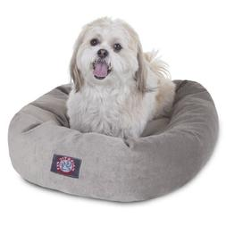 24 inch Vintage Villa Collection Micro Velvet Bagel Dog Bed