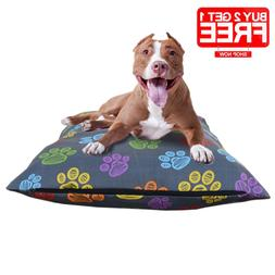 Washable Zipper Dog Cotton Bed Cushion Cover Printed Large H