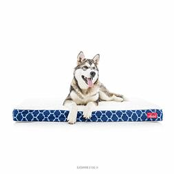 Brindle Waterproof Designer Memory Foam Pet Bed - Navy Trell