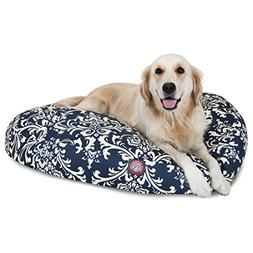 N2 Large White Blue Navy Paisley Pattern Dog Bed, Floral Mod