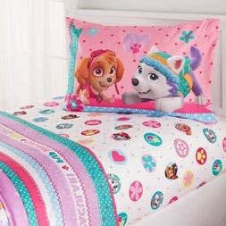 N2 4 Piece Kids White Paw Patrol Sheet Set Full Sized, Pink