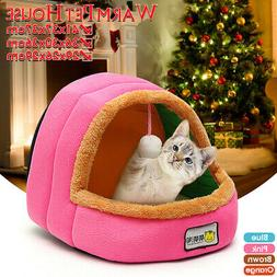 Winter Soft Warm Pet Dog Cat Puppy Bed House Cave Kennel Cus