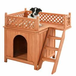 Wood Pet Dog House Wooden Puppy Room Indoor & Outdoor Roof B