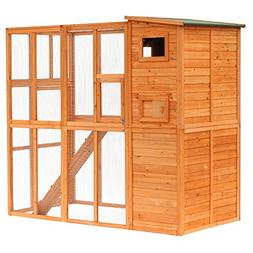 "PawHut 77"" x 38"" x 69"" Large Wooden Outdoor Cat Enclosure Ca"
